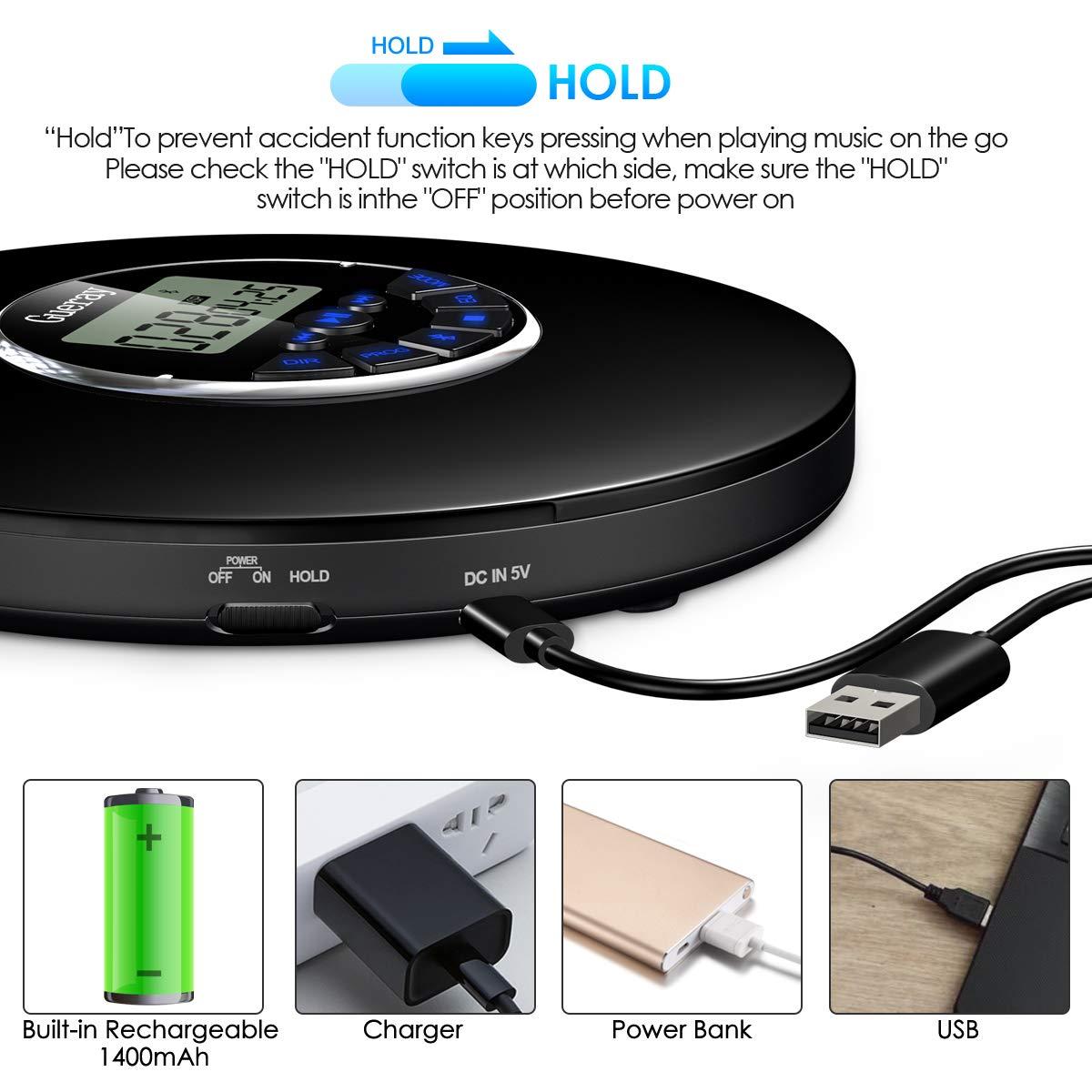 Gueray Bluetooth Reproductor de CD Port/átil con bater/ía de Litio de 1400 mAh Incorporada