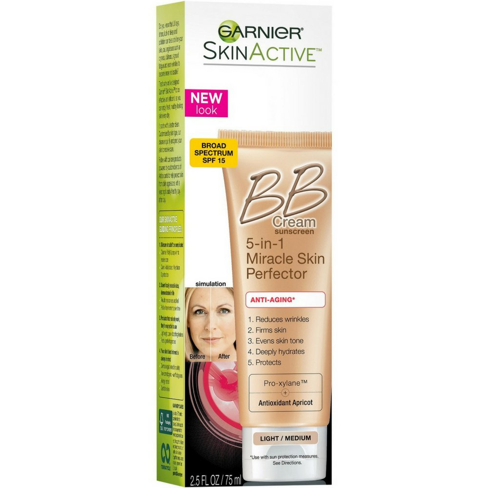 Garnier SkinActive Miracle Skin Perfector BB Cream Anti-Aging Light/Medium 2.5 oz (Pack of 3)
