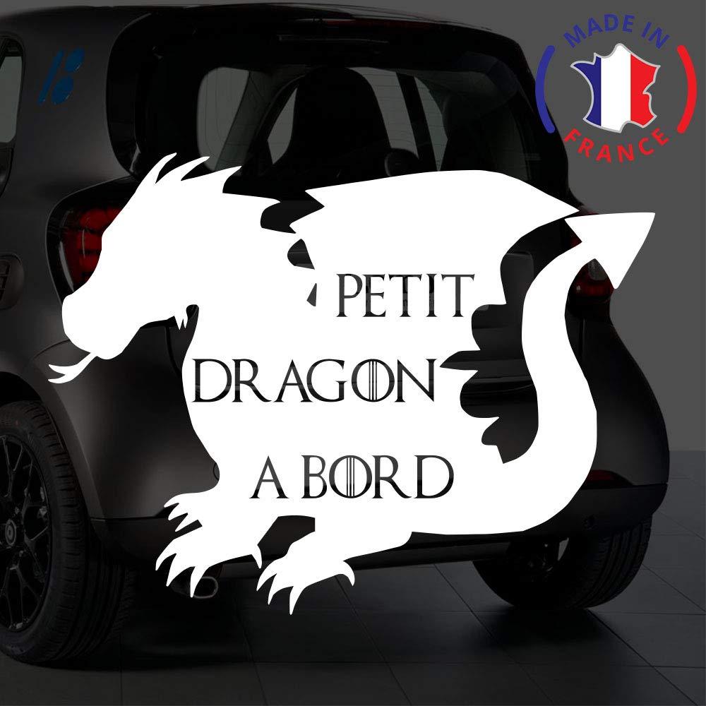 Sticker bébé à bord pour voiture Petit Dragon à Bord 20 cm Blanc - Anakiss