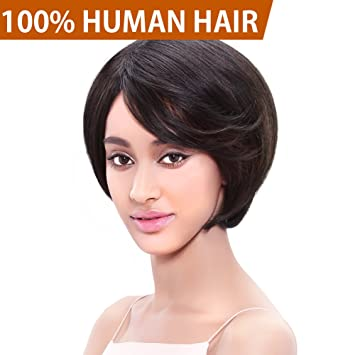 Amazon Com Fashion Idol 7 Short Bob Wig Human Hair Natural Black