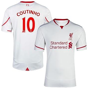 FC Camiseta de fútbol para hombre Liverpool Coutinho lejos # 10 Fútbol Jersey blanco, Blanco
