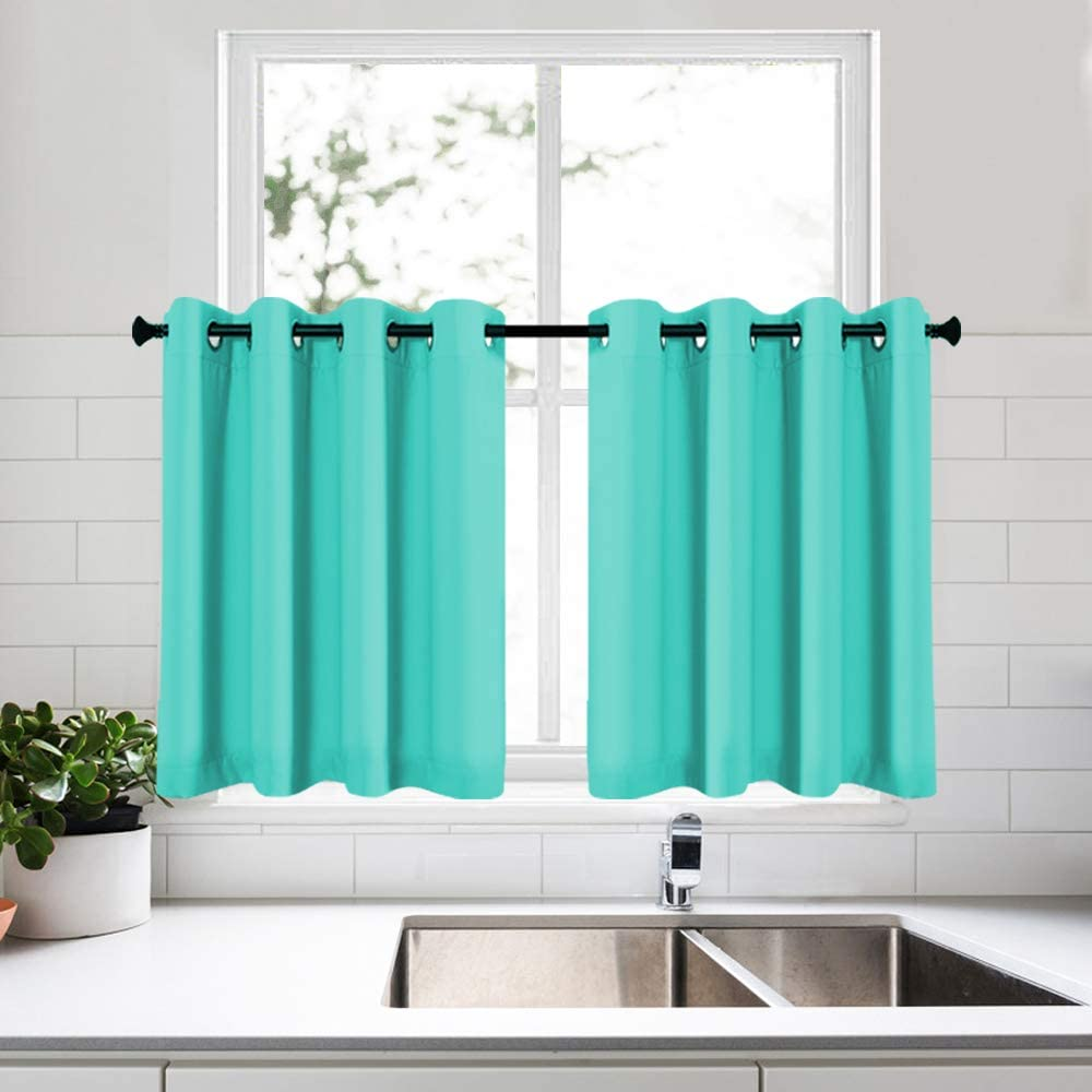 KEQIAOSUOCAI Turquoise Curtain Tiers 36 Inch Length for Bathroom Basement Kitchen Small Short Window Curtains 2 Pcs 52x36