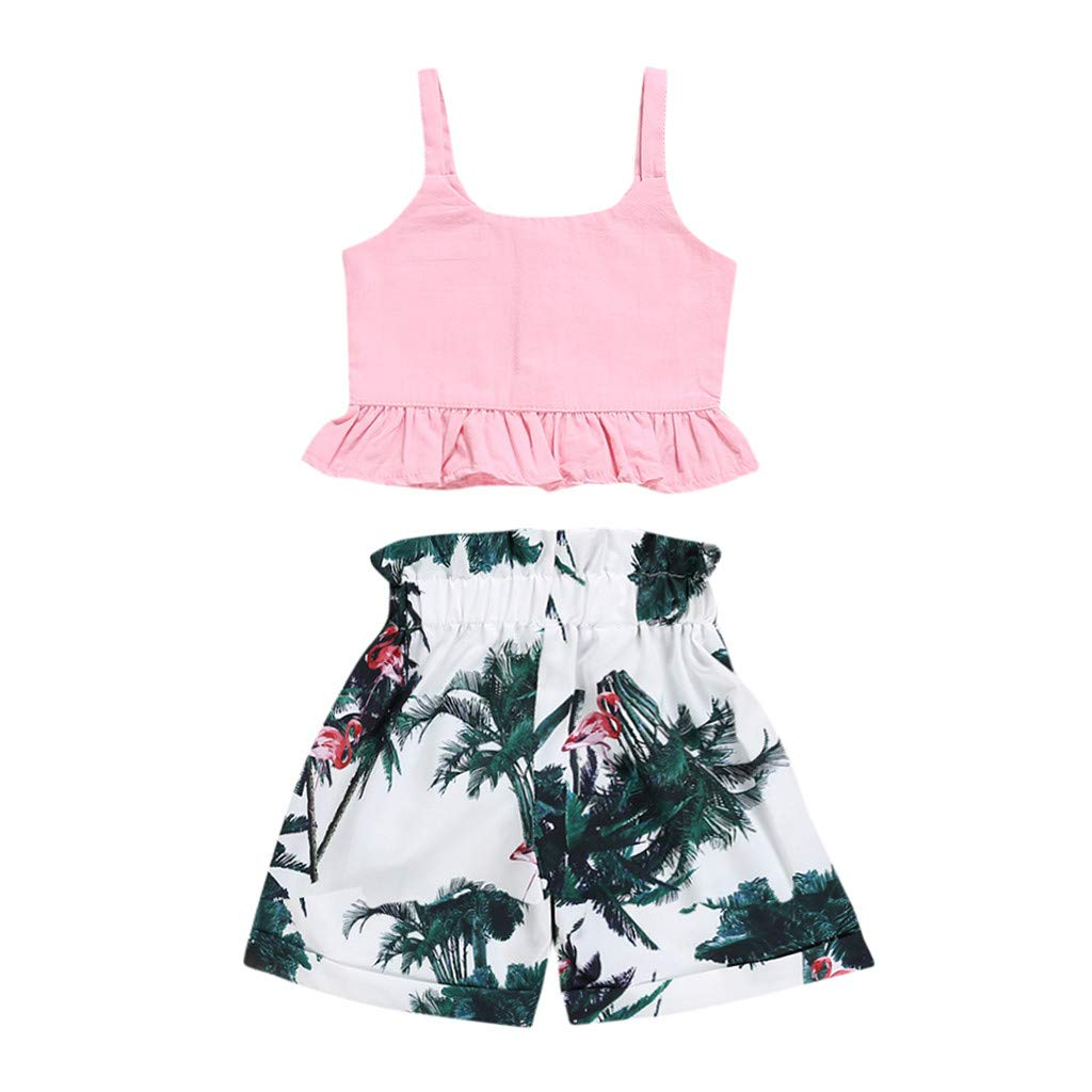 Dsood Newborn Outfits for Boys Coming Home,Toddler Baby Girl Kids Clothes T Shirt Tops Casual Floral Shorts Pants Set,Baby Clothing 2019,Pink