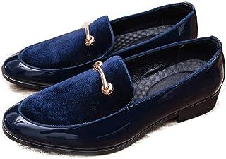 HILOTU Hommes Oxfords Chaussures Habillées Personnalité Surpiqures Anti-Rouille en Métal Décor en Cuir Verni Discothèque Chaussures Slip-on Penny Mocassins Chaussures (Color : Bleu, Taille : 44 EU)