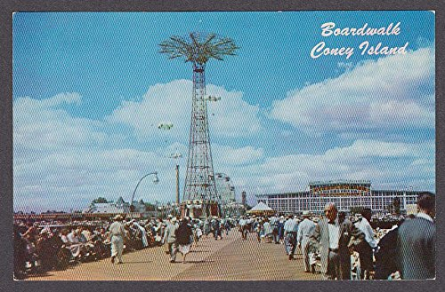 Boardwalk Coney Island Parachute Jump Steeplechase Park NY postcard 1950s (Steeplechase Coney Island)