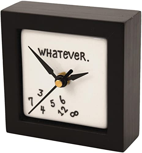 Enesco Gift Our Name is Mud Whatever Battery-Operated Square Desk or Wall Clock, 4 Inches