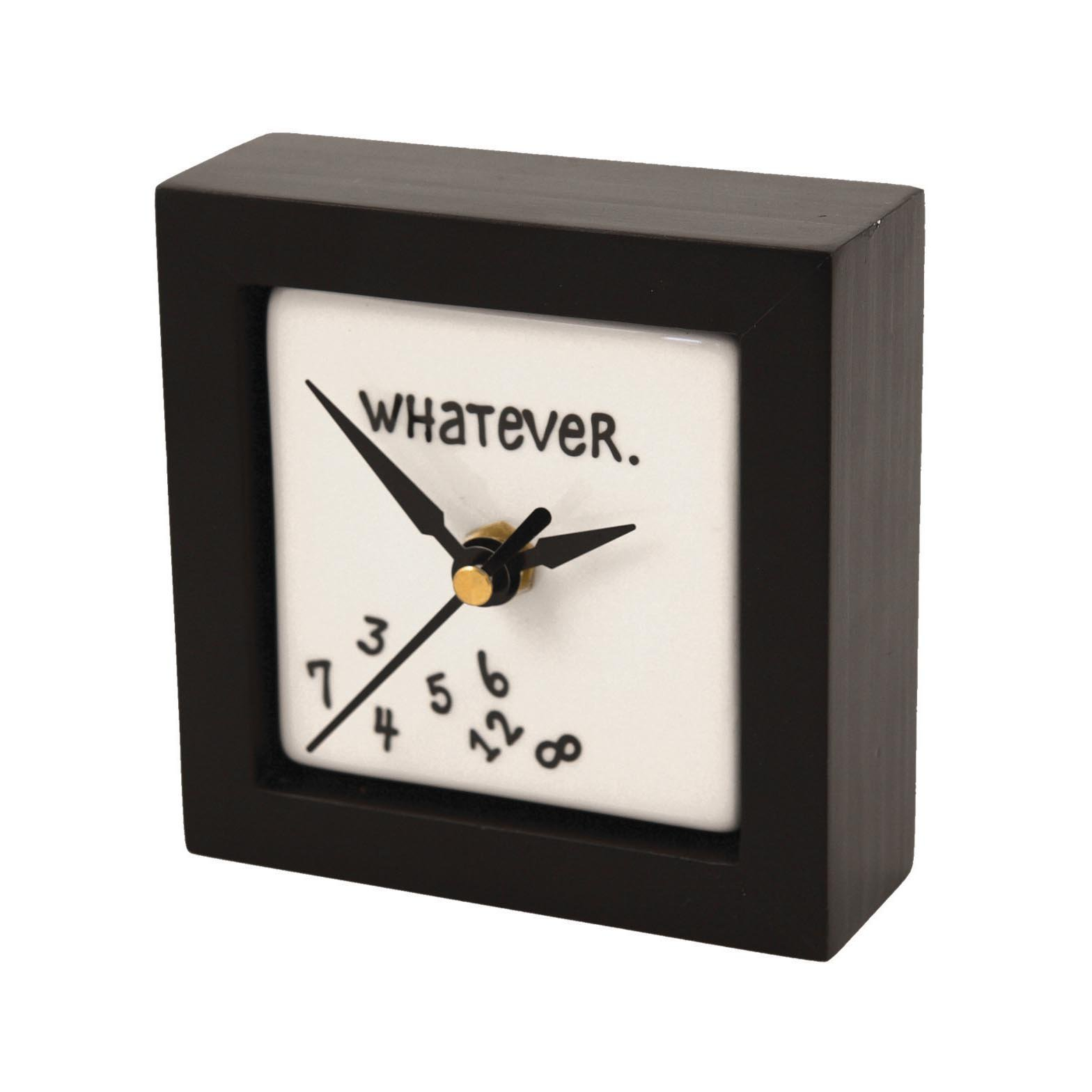 """Enesco Gift Our Name is Mud """"Whatever"""" Battery-Operated Square Desk or Wall Clock, 4 Inches by Enesco Gift"""