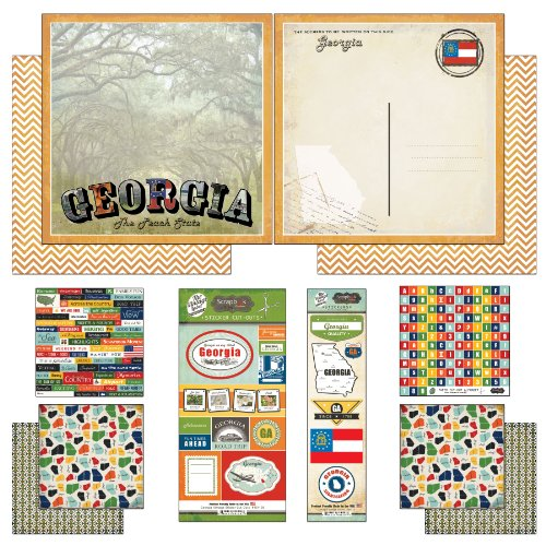 Georgia Flag Stickers (Scrapbook Customs Themed Paper and Stickers Scrapbook Kit, Georgia Vintage)