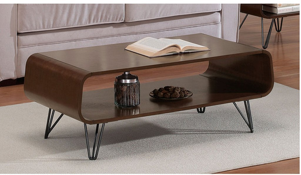 18x42x20 Rectangular Scratch And Mar Resistant Walnut Finish Astro Mid Century Coffee Table - Shelf for storage, matching end table and media center sold separately * Set includes: Coffee Table Materials: Steel wire, mdf, wood veneer * Finish: Medium walnut wood stain, charcoal grey powder coat finish on legs Dimensions: 18 inches high x 42 inches wide x 20 inches deep * Assembly required - living-room-furniture, living-room, coffee-tables - 614YRgXhpOL -