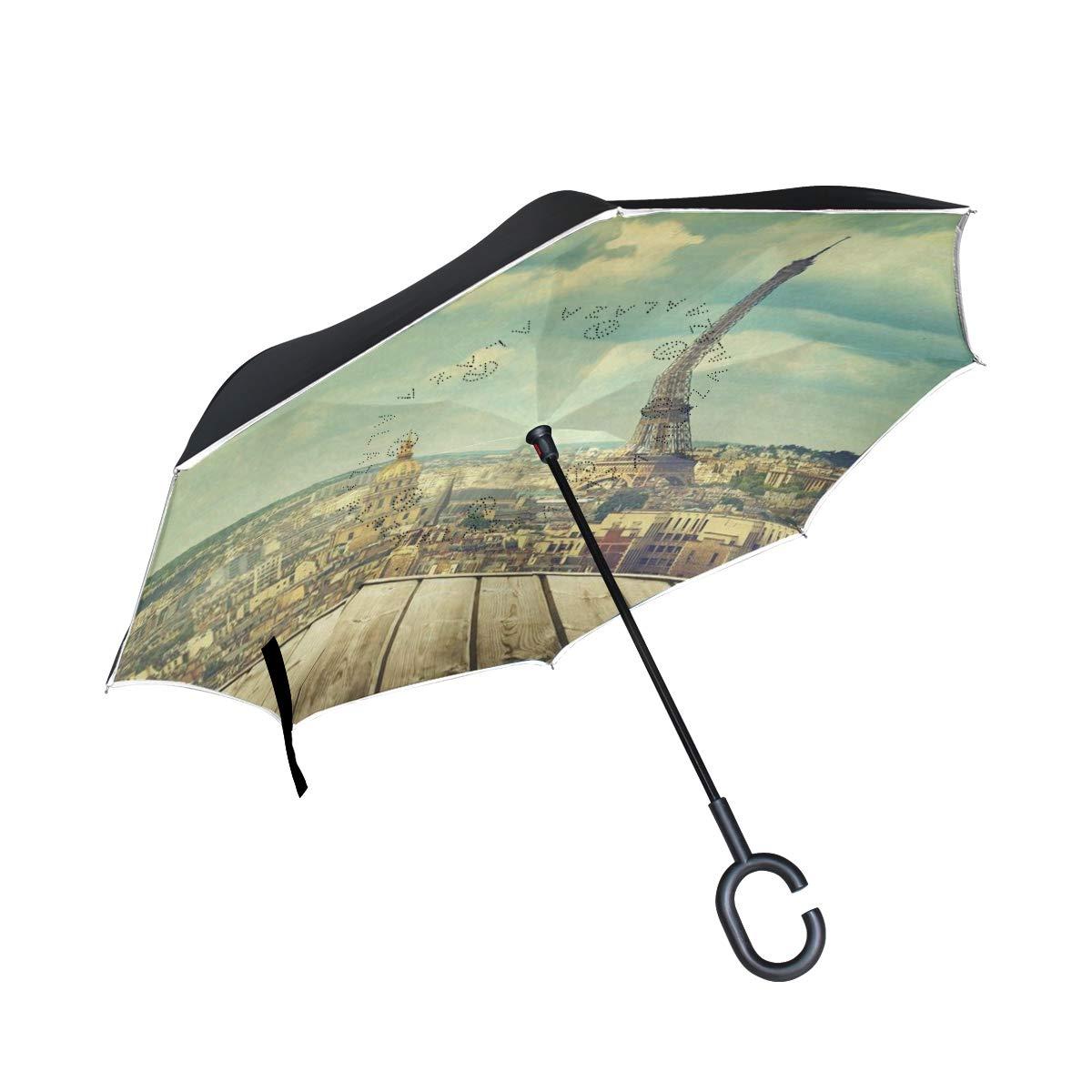 All agree 反転傘 かわいい漫画の猫 逆さ傘 UV保護 防風 車 雨 太陽 アウトドア ブラック One Size カラー6 B07MN95NFR