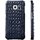 UU&T PREMIUM CROCO - 100% Handmade Alligator [Genuine][Luxury] Protective Case with Crocodile Artifact[Simple Design] for Samsung G9280/S6 Edge+ 5.7''(Back Leather) (Dark Blue)