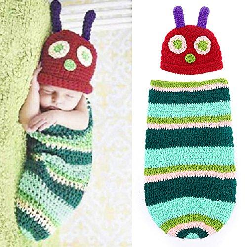 ANPI Baby Photograph Props, Newborn Baby Boy Girl Crochet Knit Costume Cute Caterpillar Style Baby Photo (Easy Hungry Caterpillar Costume)