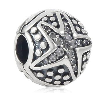 923c4d3d57e2 Abalorio de plata de ley 925 con cierre de clip, diseño de estrella de mar,  para pulsera Pandora
