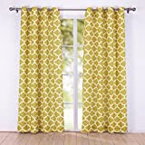 puredown Canvas Decorative Window Curtain/drape/panels/treatment, Quatrefoil Print Square Pattern, 5484 inch, Gold, Set of 2 Review