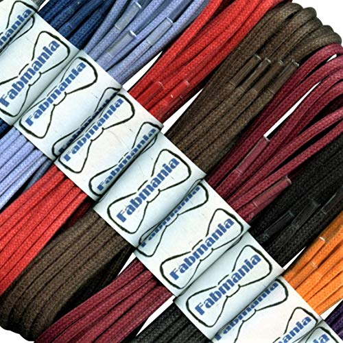 Thin Round White Waxed Cotton Shoelaces - 18'' / 45 cm length - Thin laces for dress shoes and boots. by Fabmania (Image #4)