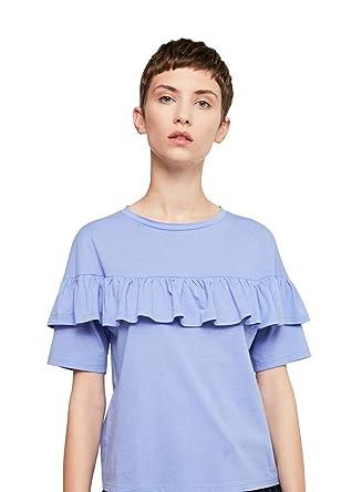 MANGO Women's Ruffle Cotton T-Shirt, Blue, ...