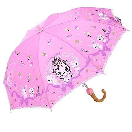 QI FANG BUSINE Paraguas Plegables Sombrilla para Niños Sombrilla semiautomática Sombrilla para Niños con Mango Largo