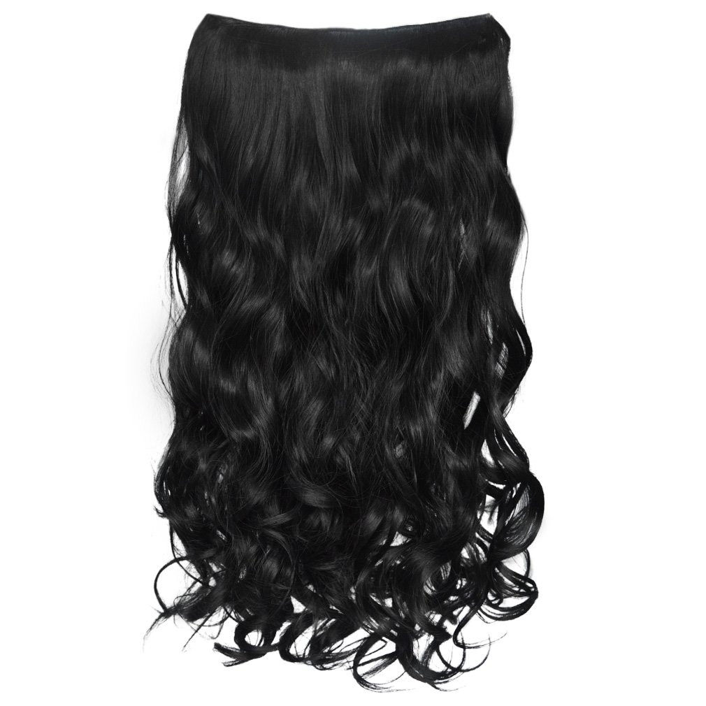 """REECHO 20"""" 1-pack 3/4 Full Head Curly Wave Clips in on Synthetic Hair Extensions Hair pieces for Women 5 Clips 4.6 Oz Per Piece - Jet Black"""
