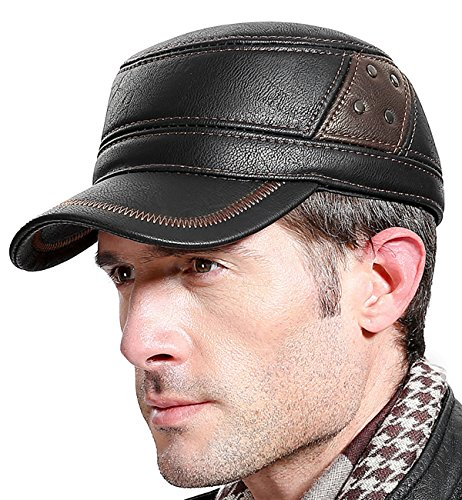1ddbd759e5d Sumolux Men Leather Cap W Earflap Military Cadet Army Style Hats ...