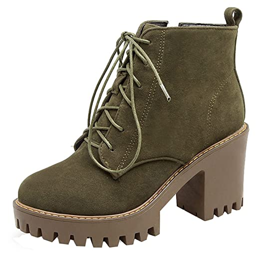 Women's Casual Side Zipper High Chunky Heel Ankle High Martin Booties