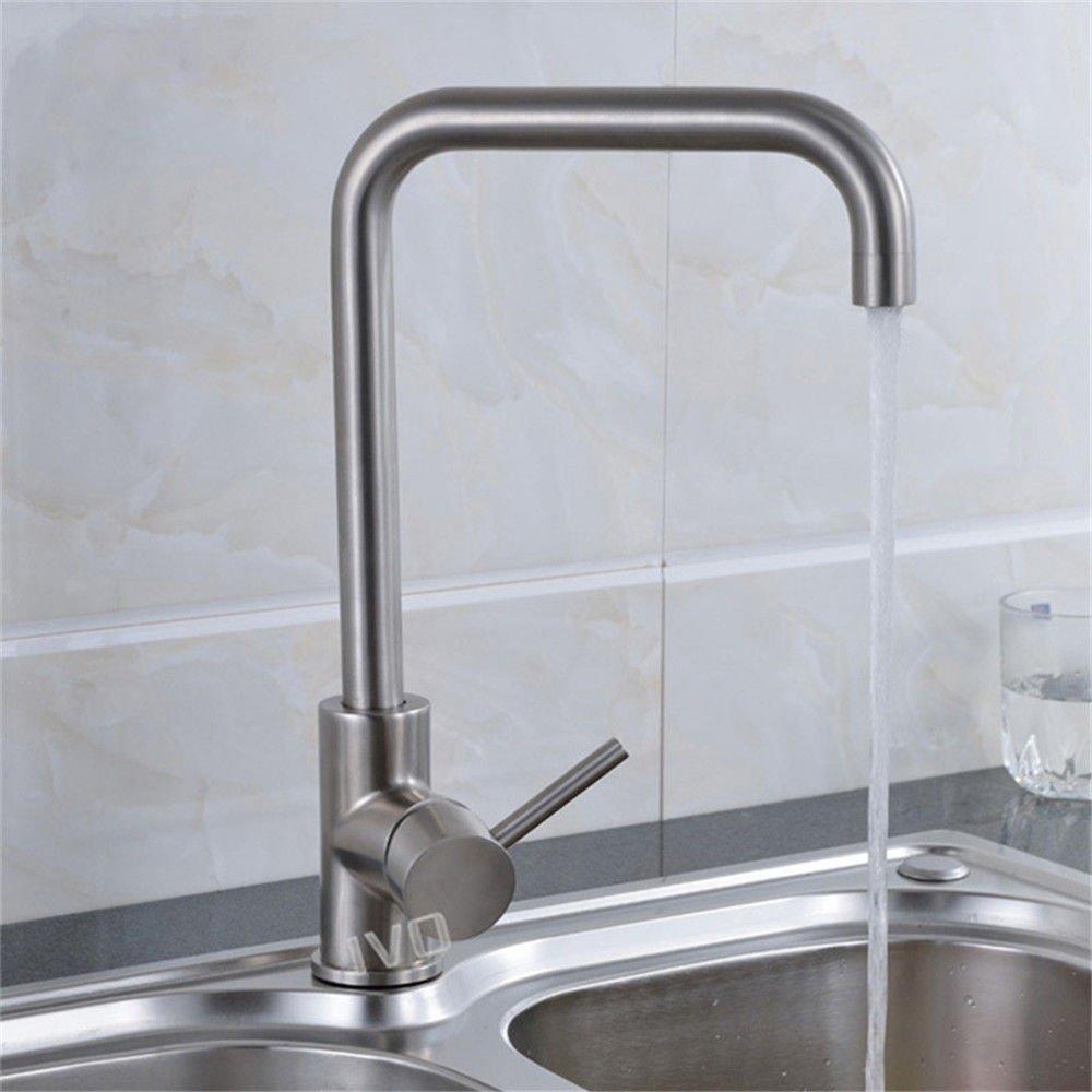 ANNTYE Waschtischarmatur Bad Mischbatterie Badarmatur Waschbecken 304 Edelstahl Warmes und kaltes Wasser Badezimmer Waschtischmischer