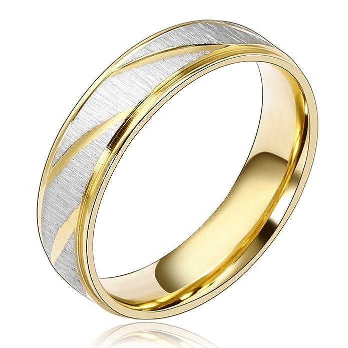 201498619f9c Daesar Joyería Ancho 6mm Acero Inoxidable Anillo Ring Plata Oro Amor Love  Pareja Pedida Compromiso Alianzas