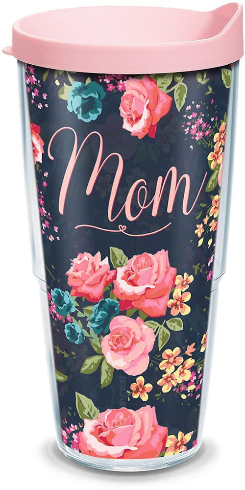 Tritan Clear Tervis 1270120 Mom Navy Floral Insulated Tumbler with Wrap and Passion Pink Lid 24 oz Water Bottle