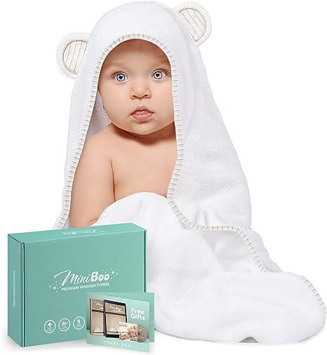 Ultra doux et super absorbants pour nouveau-n/és Miniboo Serviette de bain /à capuche en bambou bio nourrissons et tout-petits Convient comme cadeau de b/éb/é