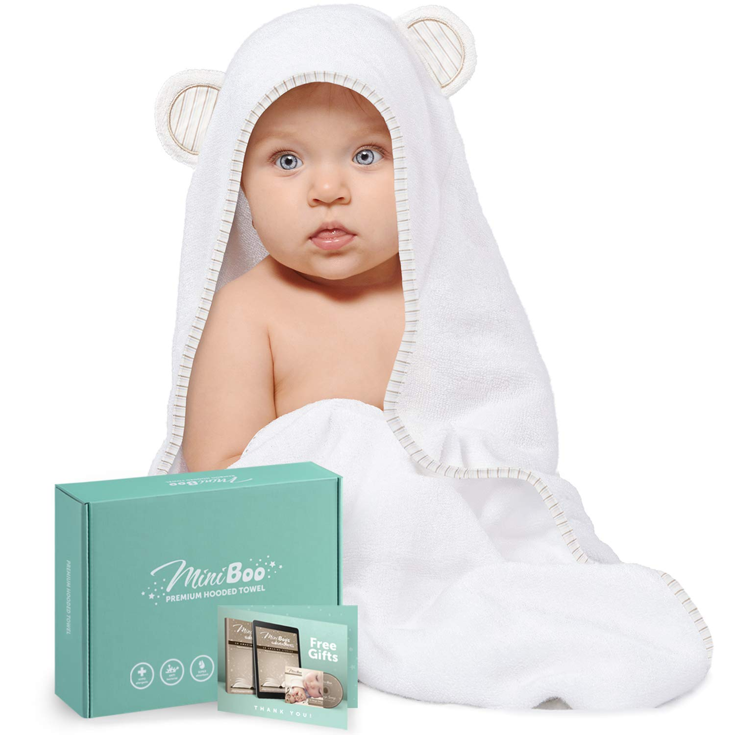 Organic Bamboo Baby Hooded Towel – Ultra Soft and Super Absorbent Baby Towels for Newborns, Infants and Toddlers – Suitable as Baby Gifts