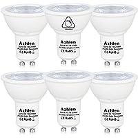Ampoule GU10 LED 7W MR16 220V Dimmable Blanc chaud 2700K Azhien, 50W Ampoule Halogène équivalent, Nice Variation, Haute Luminosité, 560LM, 36 Deg, 50 mm Diamètre, Lot de 6 Unités