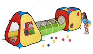 UTEX 3 in 1 Pop Up Play Tent with Tunnel, Ball Pit for Kids, Boys, Girls, Babies and Toddlers
