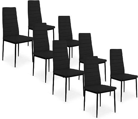 INTENSEDECO Lot de 8 chaises Strip Noir: : Cuisine