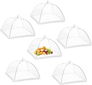 Food Cover Mesh Food Tent,Pop-Up Mesh Screen Collapsible Umbrella Tents,17 Inches Food Protector Covers, White Nylon Covers Reusable Patio Bug Net for Outdoor Camping, Picnics, Parties, BBQs-6 Pack