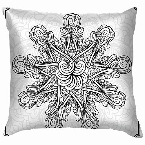 Abstract Black White Mandala Funny Square Throw Pillow