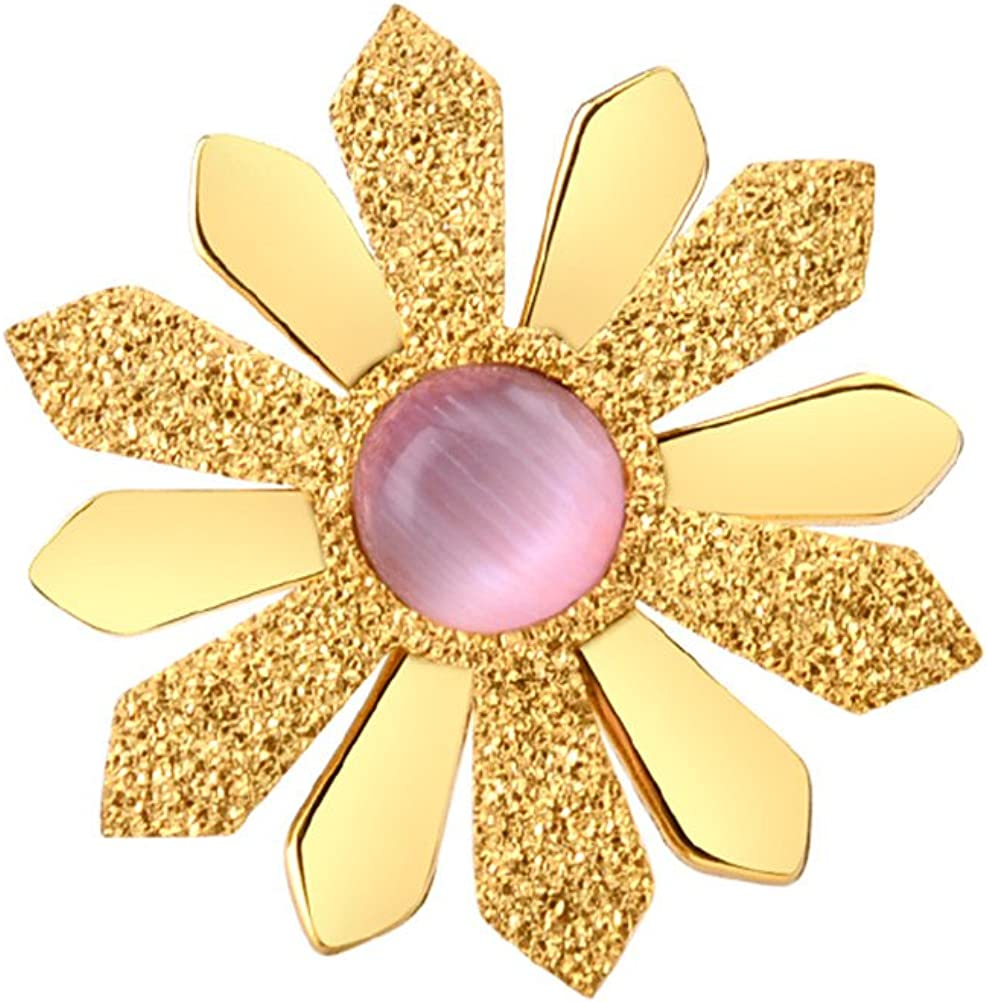 HIJONES Mujer Acier Inoxydable Girasol de Oro Con Piedras Preciosas de Color de Rosa Natural Con Ojo de Gato Pendientes Zarcillos
