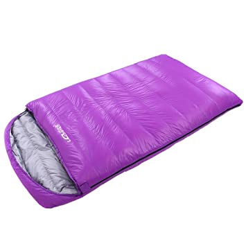 Guo Saco de dormir Al aire libre para interiores Paquete de almuerzo Adulto Ultra-light Down pareja camping doble saco de dormir (Color : Purple) : ...