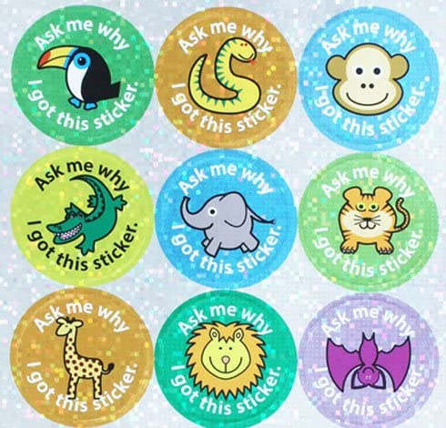 The Sticker Factory 28 mmZoo Collection Ask me why I got This Sticker Sparkly Reward Sticker Pack of 54