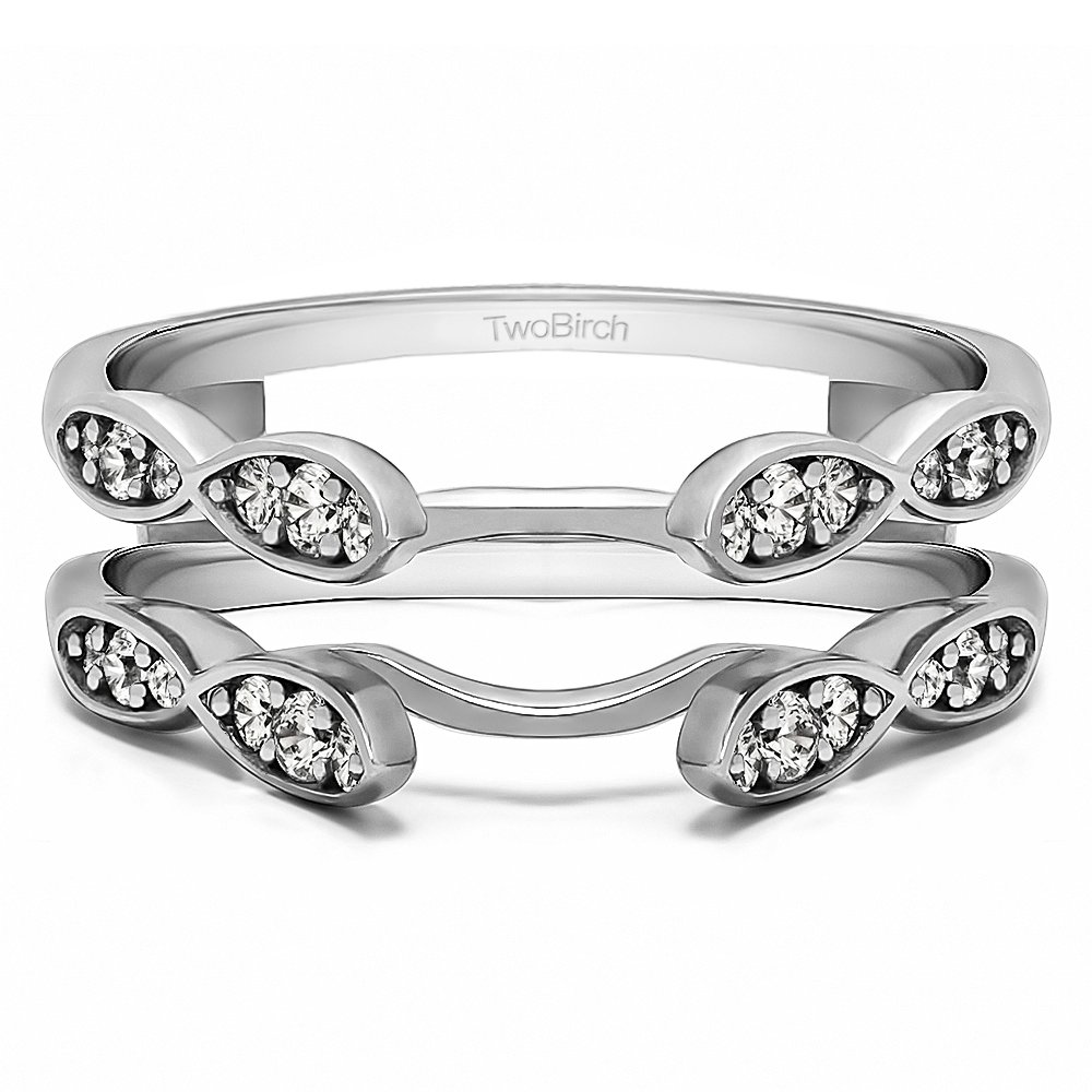 TwoBirch 0.32 ct. Cubic Zirconia Infinity Wedding Ring Guard Enhancer in Sterling Silver (1/3 ct. twt.)