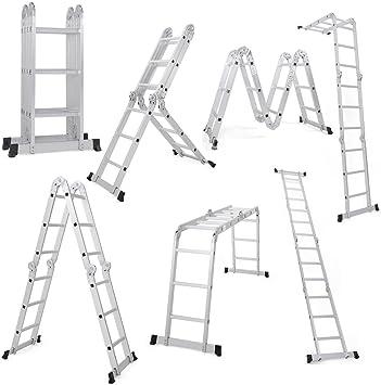 19.5FT Extension Multi Purpose Step Ladder Folding Portable Aluminum 2 Platforms