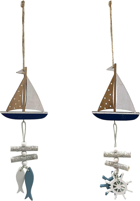 OperSeven 2Pcs Mini Sailboat Pendant Decoration Wooden Miniature Sailing Boat Home Decor Set, Beach Nautical Design Size 12.9X3.3inch