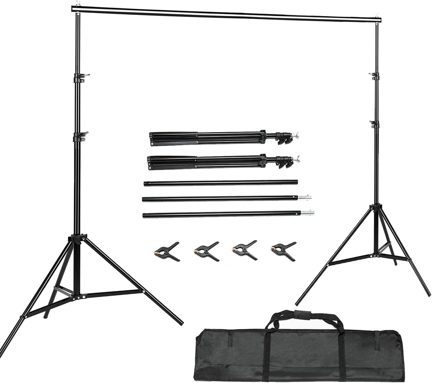 BEIYANG Backdrop Stand,7.5FTx10FT Photography Backdrops Stand Adjustable Photography Studio Background Support System Kit with Carrying Bag for Photo Video Shooting