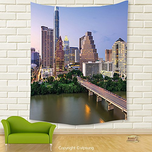 Vipsung House Decor Tapestry_Modern Austin Texas American City Bridge Over The Lake Skyscrapers Usa Downtown Picture Multicolor_Wall Hanging For Bedroom Living Room Dorm (Downtown Austin Halloween Parade)