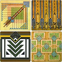 CoasterStone AS310 Absorbent Coasters, 4-1/4-Inch,Frank Lloyd Wright Rug Designs, Set of 4