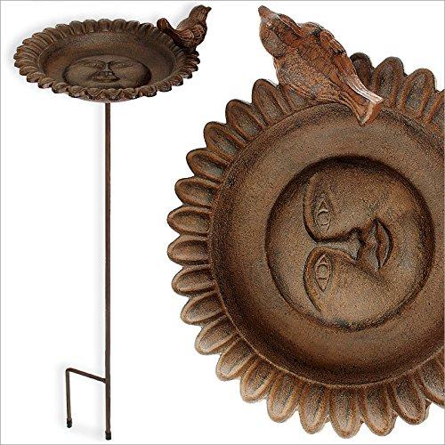 Vogeltränke Gusseisen antik-braun mit Stab