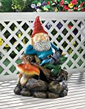 Colorful Relaxing Gnome Outdoor Garden Water Pump Cascading Fountain