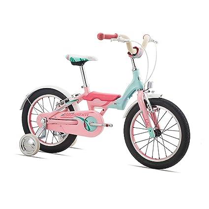 Bicicleta para Niños 16 Inch con Desmontable Rueda de Entrenamiento Bici Acero de Alto Carbono para