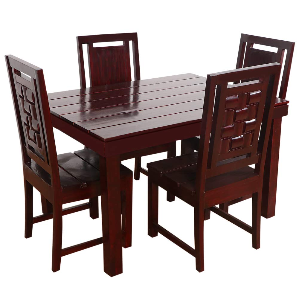 Furny Della Solid Wood (Teak Wood) 4 Seater Dining Table -