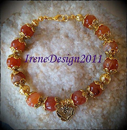 Vein Agate & Heart Bracelet