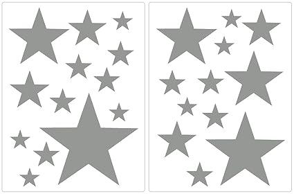Carta Da Parati Su Muro Ruvido.Premyo Set 25 Stelle Sticker Da Muro Adesivi Murali Bambini Decorazioni A Parete Cameretta Facile Da Applicare Adatta Carta Da Parati Ruvida Grigio