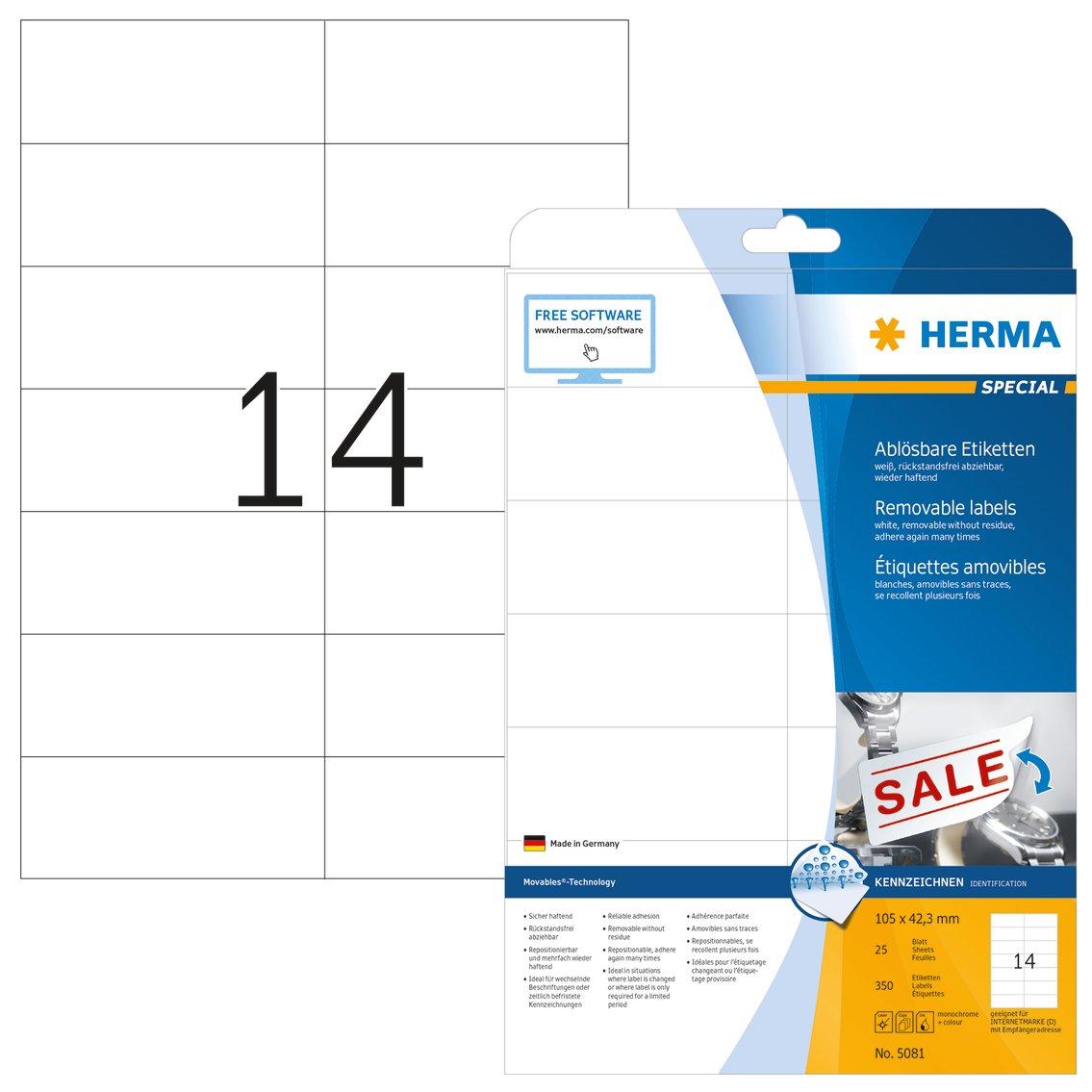 HERMA SuperPrint (105 x 42,3 mm), etichette removibili, colore: Bianco 5081